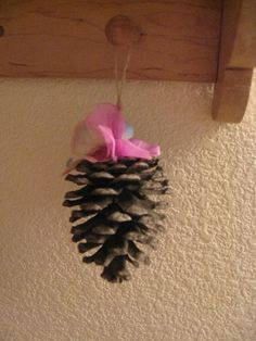 Christmas ornament handmade with natural pinecone by crazicandi, $4.00