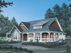 Farmhouse style house plans have relaxed country floor plans with wrap-around porches and casual quality family living from House Plans and More. Porch House Plans, Bungalow House Plans, Dream House Plans, House Floor Plans, Retirement House Plans, Country Style House Plans, Country Style Homes, Cottage Style, Farmhouse Plans