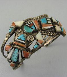 Vntg Zuni Mosaic Inlay Rainbowman Bracelet