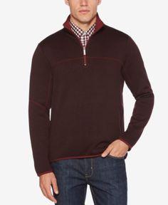Perry Ellis Men's Knit Quarter-Zip Sweatshirt - Red XXL