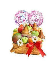 Fruit for baby Girls For hospital deliveries Latex will be substituted by Mylar balloons. Balloons arrangements are prepared by our specialized balloon artists, so designs may be vary by area and availability.