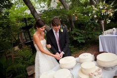 lots of white cakes -- pretty  Photo by Jason Thrasher  #wedding #garden #cake #ashfordmanor