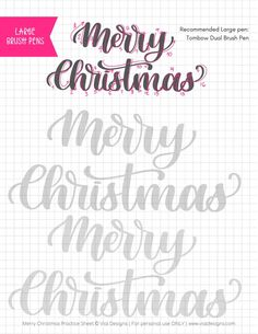 Merry Christmas Free Calligraphy Practice Sheet by Vial Designs Brush Lettering Worksheet, Lettering Guide, Hand Lettering Practice, Hand Lettering Alphabet, Creative Lettering, Calligraphy Practice Sheets Free, Calligraphy Worksheet, Calligraphy Doodles, Graffiti Alphabet