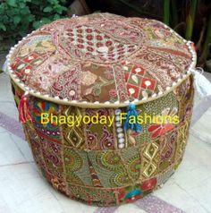 Vtg Handmade Embroidry Ottoman stool chair Pouf Ethnic Patchwork India Decor Art