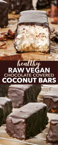 Raw Vegan Chocolate Covered Coconut Bars {gluten dairy egg peanut soy & ref. sugar free vegan paleo} - If youre a coconut fan youll love these raw vegan chocolate covered coconut bars. If youre not you just might be converted. They are full of Raw Vegan Desserts, Healthy Vegan Snacks, Vegan Dessert Recipes, Vegan Treats, Healthy Sweets, Vegan Foods, Raw Food Recipes, Vegan Raw, Cake Recipes