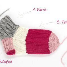 Montako silmukkaa sukkiin? Villasukan silmukkamäärät | Kodin Kuvalehti Mittens, Socks, Knitting, Crochet, Diy, Fingerless Mitts, Tricot, Bricolage, Breien
