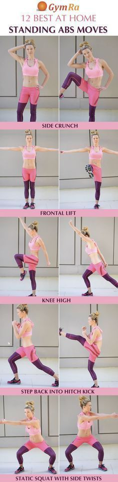12 Best At Home Standing Abs Exercises. Click the above image to see all the moves demonstrated in video and/or GIF format. Try GymRa free for a month. NO CREDIT CARD REQUIRED! Fitness Workouts, Training Fitness, At Home Workouts, Fitness Tips, Ab Workouts, Workout Circuit, Strength Workout, Weight Training, Standing Ab Exercises