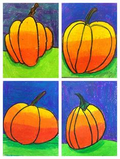 Exploring Art: Elementary Art: Grade Pumpkin Patch value Art Education Projects, Kindergarten Art Projects, School Art Projects, Halloween Art Projects, Fall Art Projects, Halloween Prop, Halloween Witches, Happy Halloween, First Grade Art