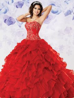 Colorful Quince Dresses - Red Princess Dress With Ruffled Skirt