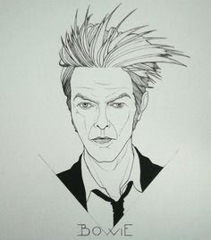 Per me la musica è il colore. Non il dipinto. La mia musica mi permette di dipingere me stesso. David Bowie -RIP- #Artwork by Francesco Pulinas China su foglio A4 - 29.7x42 ...in progress