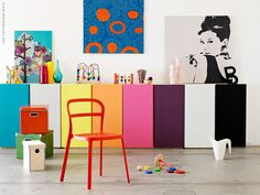 These multicoloured cabinets would make such great, fun storage in a playroom! #popandlolli #pinparty