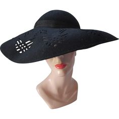 Wide Brim Picture Hat in Black Felt with Geometric Cut-Outs Glenover Henry  Pollak c482cc8238f5