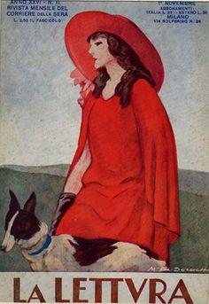 La Lettvra - 17  Donna con abito rosso e cane