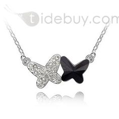 Stylish Duad Butterflies Alloy with Austrian Crystal Necklace