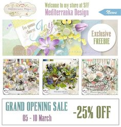 "Grand Opening Sale with Mediterranka at Scrap From France! Enjoy a Special 25% off Sale through March 13th. And you can pick up a Mini-Kit Freebie! Don't miss to ""subscribe to the designer"" to follow all the releases of your favorite designer (click on the left button ...near ""add to cart""). Mediterranka SFF Store; http://scrapfromfrance.fr/shop/index.php?main_page=index&manufacturers_id=110&zenid=52d22db3e3dab801c000053341fb56dc. 03/09/2015"