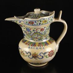 Vintage Chinese Dou Cai Porcelain Teapot w Chenghua Mark  More At FOSTERGINGER @ Pinterest ️️