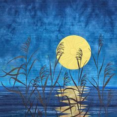 art quilt - moon grass