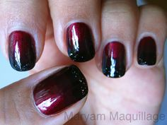 Black and red ombre nails.