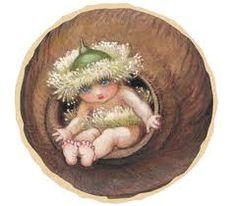 May Gibbs; artist: images of Snugglepot, Cuddlepie, Little Lobelia, Ragged Blossom eucalyptus gumnut babies Bebe Nature, Flora, Book Week Costume, Flower Fairies, Australian Artists, Baby Party, Faeries, Vintage Prints, Illustrations