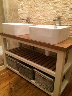 Solid Oak Handmade Vanity Unit - Rustic Painted Furniture - F&B Stunning