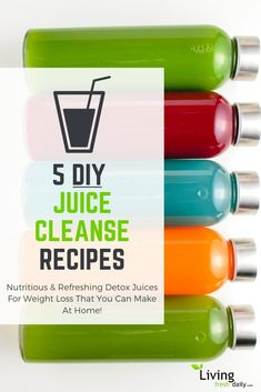 Juicing For Weight Loss: 5 Detox Juice Cleanse Recipes To Try At Home! Juicing For Weight Loss: 5 Detox Juice Cleanse Recipes To Try At Home!,Boissons/Drinks 5 DIY detox juice cleanse recipes for weight. Smoothie Detox Plan, Detox Diet Drinks, Detox Juice Cleanse, Juice Cleanses, Natural Detox Drinks, Fat Burning Detox Drinks, Detox Juices, Diet Detox, Stomach Cleanse