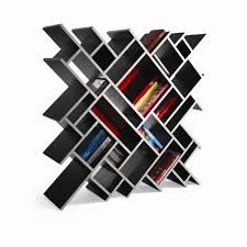 "My library consists of modern day architecture that puts a spin on normal book shelves. This zig zag bookshelf allows my library to a have unique aesthetics differentiating from the ""typical"" bookstore. Since the shelves are different lengths and sizes i can base each shelf with the amount of books or movies in the correlating genre."