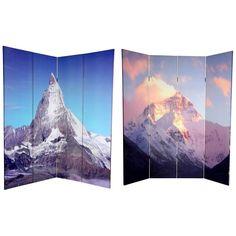 ORIENTAL FURNITURE Canvas Double-sided 6-foot Matterhorn/ Everest Room Divider