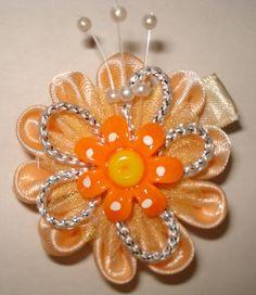 Peach ribbon flower Kanzashi flower by GirlsFairytaleWorld on Etsy, $8.00