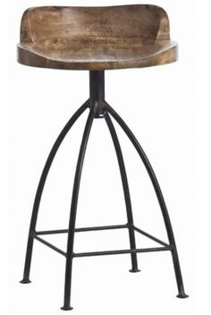 Arteriors Henson Wood Iron Swivel Stool - traditional - bar stools and counter stools - Candelabra Rustic Counter Stools, Industrial Bar Stools, Swivel Counter Stools, Wooden Counter, Kitchen Stools, Kitchen Dining, Wooden Bar, Rustic Industrial, Industrial Furniture
