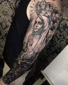 Tatuagem Jesus Tattoo Sleeve, Religious Tattoo Sleeves, Arm Sleeve Tattoos, Tattoo Sleeve Designs, Chicano Art Tattoos, Forarm Tattoos, Tribal Tattoos, Religous Tattoo, Religion Tattoos