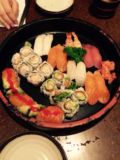 Sushi and sushi roll dinner. Great meal.