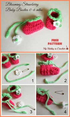 free crochet strawberry baby shoes free pattern