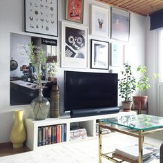 Ikea 'Lack' shelf as tv stand @yourdailydeco