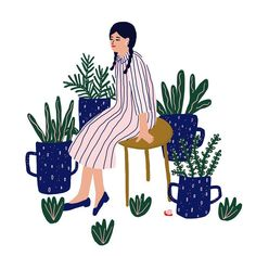 "1,369 Likes, 6 Comments - @jeninuferu on Instagram: ""Never enough plants  . . . #illustration #illustrationoftheday #drawing #painting #instaart #girl…"""