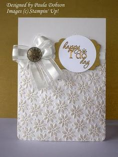 Wedding Card using embossing folder with results lightly brushed with ink