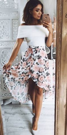 trendy outfit top + floral skirt