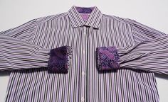 English Laundry Mens Shirt Purple Black White Striped Paisley Flip Cuff Sz 16.5 #EnglishLaundry