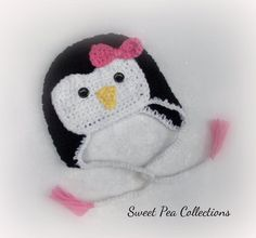 Girl Penguin Hat Crochet Hat Ready To Ship 6-12 months 0-3 months 3-6 months Baby Girl Ear Flap Hat Pink and Black  Photo Prop by sweetpeacollections on Etsy