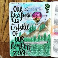 What an inspiring Bible journaling idea because this can be so true! God calls us higher and higher into our purpose in Him! Be willing to get out of your comfort zone and grow in God! Faith Bible, My Bible, Bible Scriptures, Bible Quotes, Scripture Art, Bible Art, Scripture Doodle, Scripture Journal, Beautiful Words