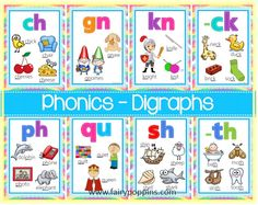 Comprehensive collection of digraph posters - including initial and final consonant digraphs. Also contains trigraphs.
