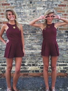 maroon romper - perfect for game day :)