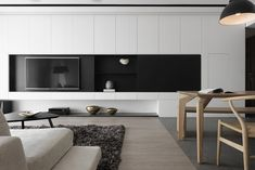 The folding and overlaps of interfaces_Design Apartment-Design director Tang,Chung han-Interior design Living Room Tv, Living Room Modern, Living Room Interior, Home And Living, Living Room Designs, Home Office Design, House Design, Modern Interior, Interior Design