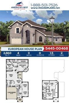 Get to know this European home design, Plan 5445-00468 features 2,860 sq. ft., 4 bedrooms, 3 bathrooms, a breakfast nook, a kitchen island, an open floor plan, a formal living room, a media room, and a sitting room. #architecture #houseplans #housedesign #homedesign #homedesigns #architecturalplans #newconstruction #floorplans #dreamhome #dreamhouseplans #abhouseplans #besthouseplans #newhome #newhouse #homesweethome #buildingahome #buildahome #residentialplans #residentialhome European Plan, European House Plans, Best House Plans, Dream House Plans, Floor Plan Drawing, Jack And Jill Bathroom, Construction Cost, Build Your Dream Home, Formal Living Rooms