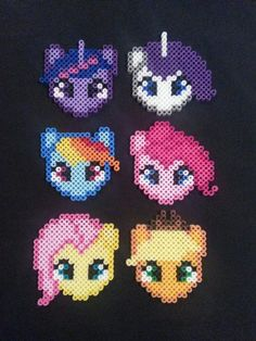 Well, with the holiday season upon us I decided to start making some ornaments out of my perler beads. My first project was the mane six from My Little . My Little Pony Perler Bead Ornaments Perler Beads, Perler Bead Art, Fuse Beads, Hama Beads Coasters, Melty Bead Patterns, Pearler Bead Patterns, Perler Patterns, Beading Patterns, My Little Pony Party