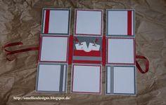 Omellie's Designs: Multiaufklappkarte zur Hochzeit in Anthrazit-Grau und Glutrot