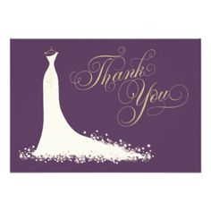 "Elegant bridal shower or wedding ""Thank You"" note cards for the stylish bride-to-be features an ornate calligraphy script font and flowing wedding gown. Scroll flourish, flower and butterfly details accent the ethereal dress. Modern flat card format includes space on the back for a handwritten message. Design colors include soft white / ivory, dark plum / eggplant purple, and champagne gold. Additional color scheme and design options are available at The Plush Paper Design Shop. #wedding ..."