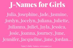 J-names for baby girls, girl name first letter J, girl names starting with J
