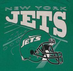 Vintage 80s 90s NY Jets Old Football LogoHelmet T-Shirt Sz M