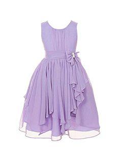 DressForLess Yoryu Chiffon Asymmetric Ruffled Flower Girl Dress , Lilac, 12, (KK2040LC-12) DressForLess http://www.amazon.com/dp/B00K8GCISI/ref=cm_sw_r_pi_dp_DLsCvb0E4TXBV -- Flower girl dress, lavender, lilac and light purple. Great for a Grecian/Roman wedding.