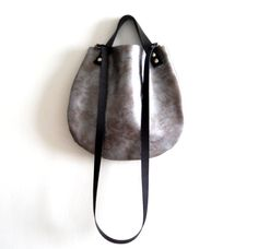 Leather  basket bag Crossbody  Brushed silver by Smadars on Etsy, $95.00